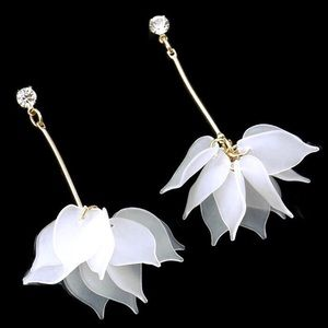 Petal Earrings White Boho Dangle Crystal Stud NWT